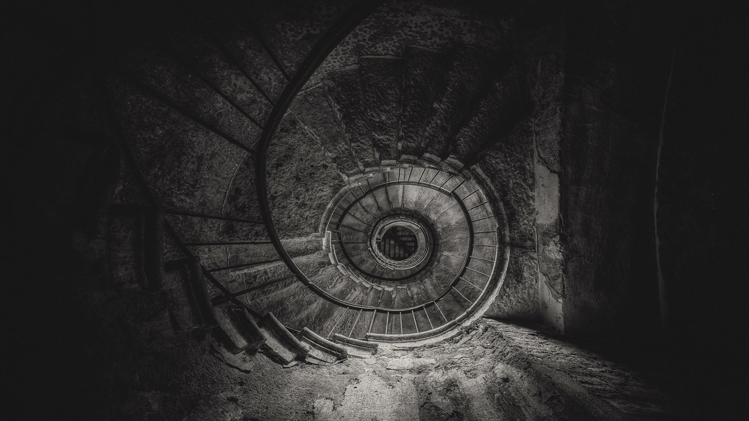 Fonds Decran 2560x1440 Escalier Noir Et Blanc Vue De