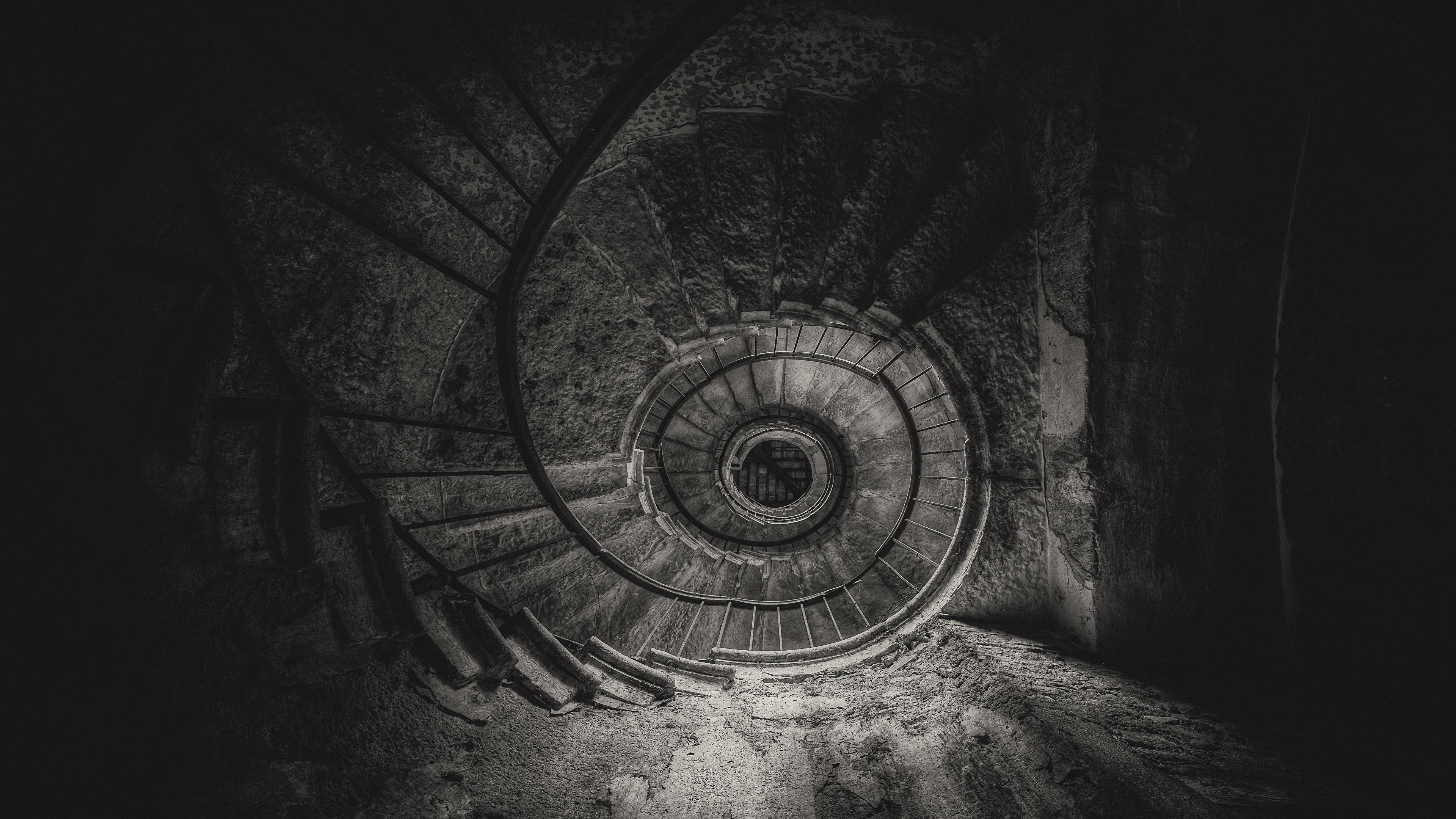 Fonds Decran 3840x2160 Escalier Noir Et Blanc Vue De