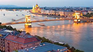 Fotos Ungarn Budapest Fluss Brücken Abend Danube Städte