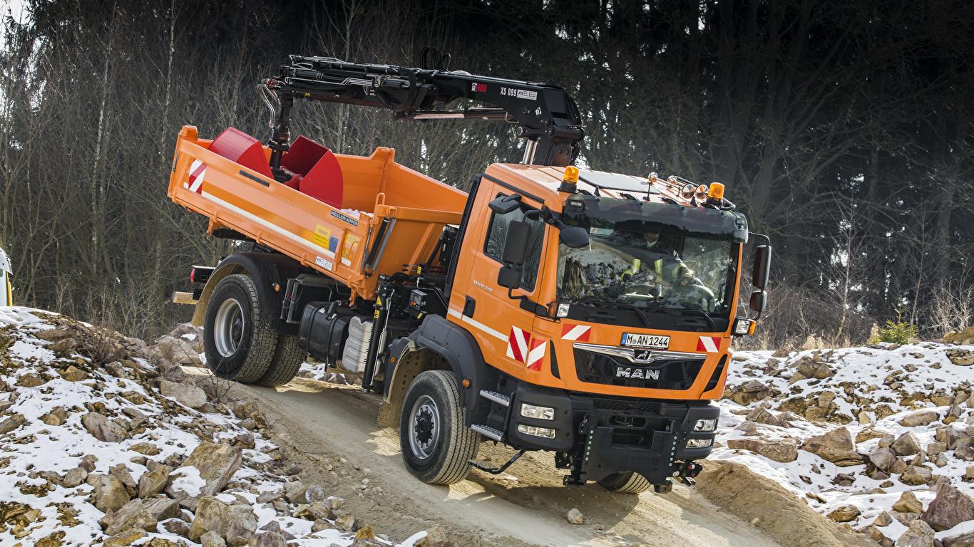Photos Trucks Orange Cars 1366x768 lorry auto automobile