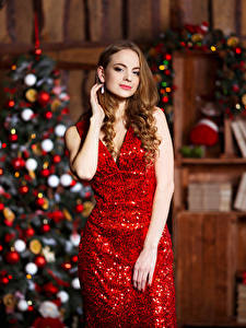 Wallpapers New year Brown haired Gown New Year tree
