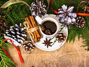 Hintergrundbilder Neujahr Kaffee Zimt Sternanis Zapfen Tasse