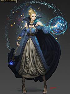 Fotos Magie Kleid Kugeln Magierstab Fantasy Mädchens