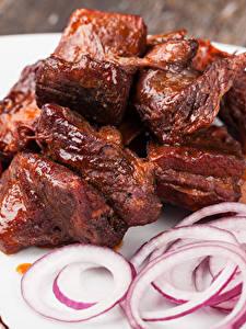 Bilder Fleischwaren Tomate Zwiebel Schaschlik