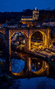 Bilder England Gebäude Fluss Brücken Reflexion Nacht Knaresborough Städte