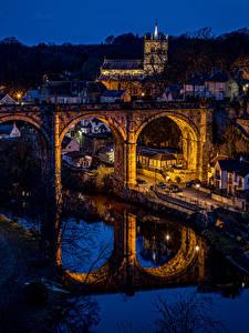 Bilder England Gebäude Fluss Brücken Reflexion Nacht Knaresborough