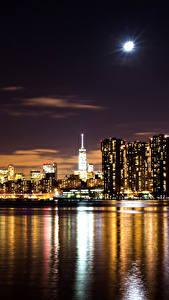 Hintergrundbilder USA Gebäude New York City Nacht Mond Kleine Bucht Städte