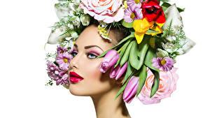 Hintergrundbilder Tulpen Weißer hintergrund Gesicht Make Up Rote Lippen Mädchens Blumen