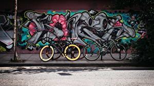 Fotos Graffiti Wände Stadtstraße Fahrrad