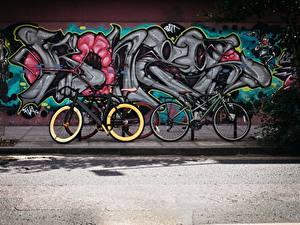 Fotos Graffiti Wände Stadtstraße Fahrrad Städte