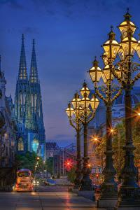 Hintergrundbilder Österreich Wien Abend Haus Stadtstraße Straßenlaterne Städte