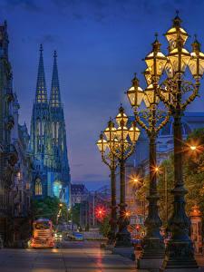 Hintergrundbilder Österreich Wien Abend Haus Stadtstraße Straßenlaterne