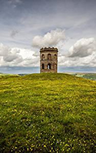 Hintergrundbilder England Türme Wolke Hügel Gras Peak district, Buxton, Grinlow Tower