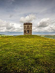 Desktop hintergrundbilder England Türme Wolke Hügel Gras Peak district, Buxton, Grinlow Tower Natur