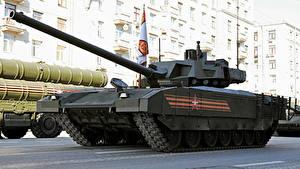 Hintergrundbilder Panzer Feiertage Tag des Sieges 9 Mai Militärparade Russische T-14 Armata Heer