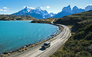 Fotos Chile Gebirge See Straße Pehoe Lake Patagonia Natur