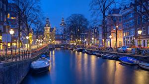 Bilder Abend Haus Motorboot Amsterdam Niederlande Kanal Straße Waterfront