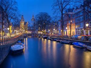 Bilder Abend Haus Motorboot Amsterdam Niederlande Kanal Straße Waterfront Städte
