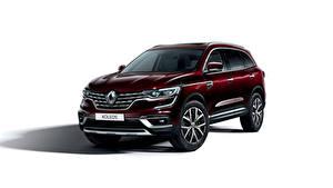 Bilder Renault Weißer hintergrund Bordeauxrot 2019 Koleos Worldwide Autos