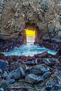 Wallpaper USA Stones California Crag Pfeiffer Beach Nature