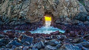Hintergrundbilder Vereinigte Staaten Steine Kalifornien Felsen Pfeiffer Beach Natur