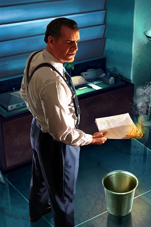 zdjęcia L.A. Noire mężczyzna Burning Evidence płomień Gry wideo 640x960 dla Telefon komórkowy Mężczyźni Ogień gra wideo komputerowa