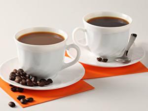 Hintergrundbilder Kaffee Grauer Hintergrund 2 Tasse Getreide Löffel Untertasse Lebensmittel