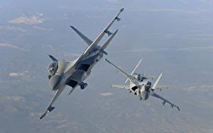 Hintergrundbilder Flugzeuge Jagdflugzeug Soukhoï Su-30 Russische Flug MKI, The Indian air force Luftfahrt