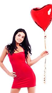 Fonds d'écran Saint-Valentin Fond blanc Cheveux noirs Fille Ballon jouet Cœur Les robes Main