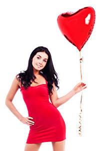 Fonds d'écran Saint-Valentin Fond blanc Cheveux noirs Fille Ballon jouet Cœur Les robes Main Filles