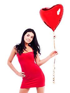 Fotos Valentinstag Weißer hintergrund Brünette Luftballon Herz Kleid Hand