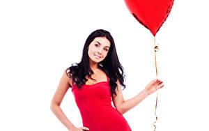 Fonds d'écran Saint-Valentin Fond blanc Cheveux noirs Fille Ballon jouet Cœur Les robes Main jeunes femmes