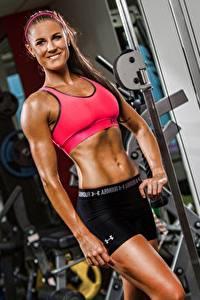 Hintergrundbilder Fitness Turnhalle Posiert Lächeln Sport Mädchens