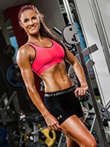 Hintergrundbilder Fitness Turnhalle Posiert Lächeln Mädchens