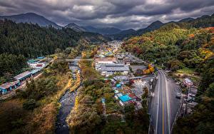 Fotos Japan Gebäude Straße Wälder Herbst HDRI Gunma Städte