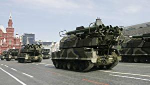 Fotos Raketenwerfer Feiertage Tag des Sieges 9 Mai Militärparade Russische  Heer
