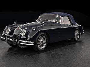 壁纸、、ジャガー - 自動車、レトロ、グレーの背景、クーペ、黑、メタリック塗、1958-61 XK150 Drophead Coupe、自動車
