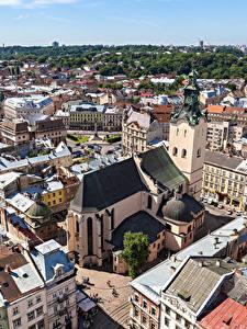 Fotos Lwiw Ukraine Haus Von oben Städte