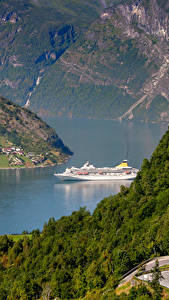 Hintergrundbilder Norwegen Fluss Wälder Schiffe Geiranger Fjord Natur
