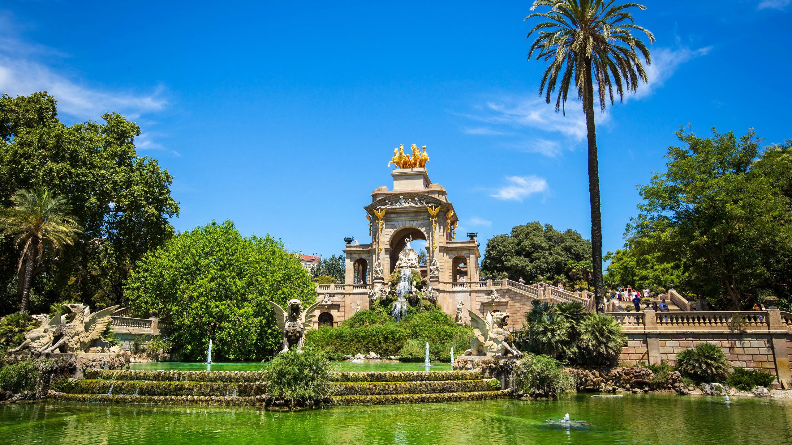 Fonds Decran 2560x1440 Espagne Parc Sculptures étang