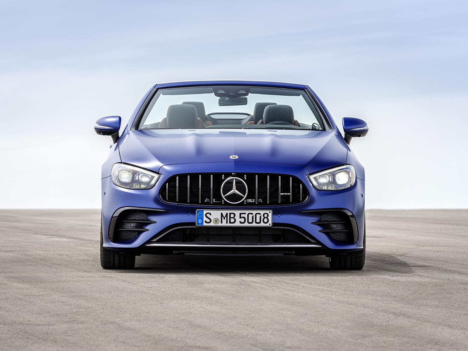 Bilder Mercedes-Benz E 53 4MATIC, Cabrio Worldwide, A238, 2020 Cabriolet Blau auto Vorne Metallisch 1600x1200 Autos automobil