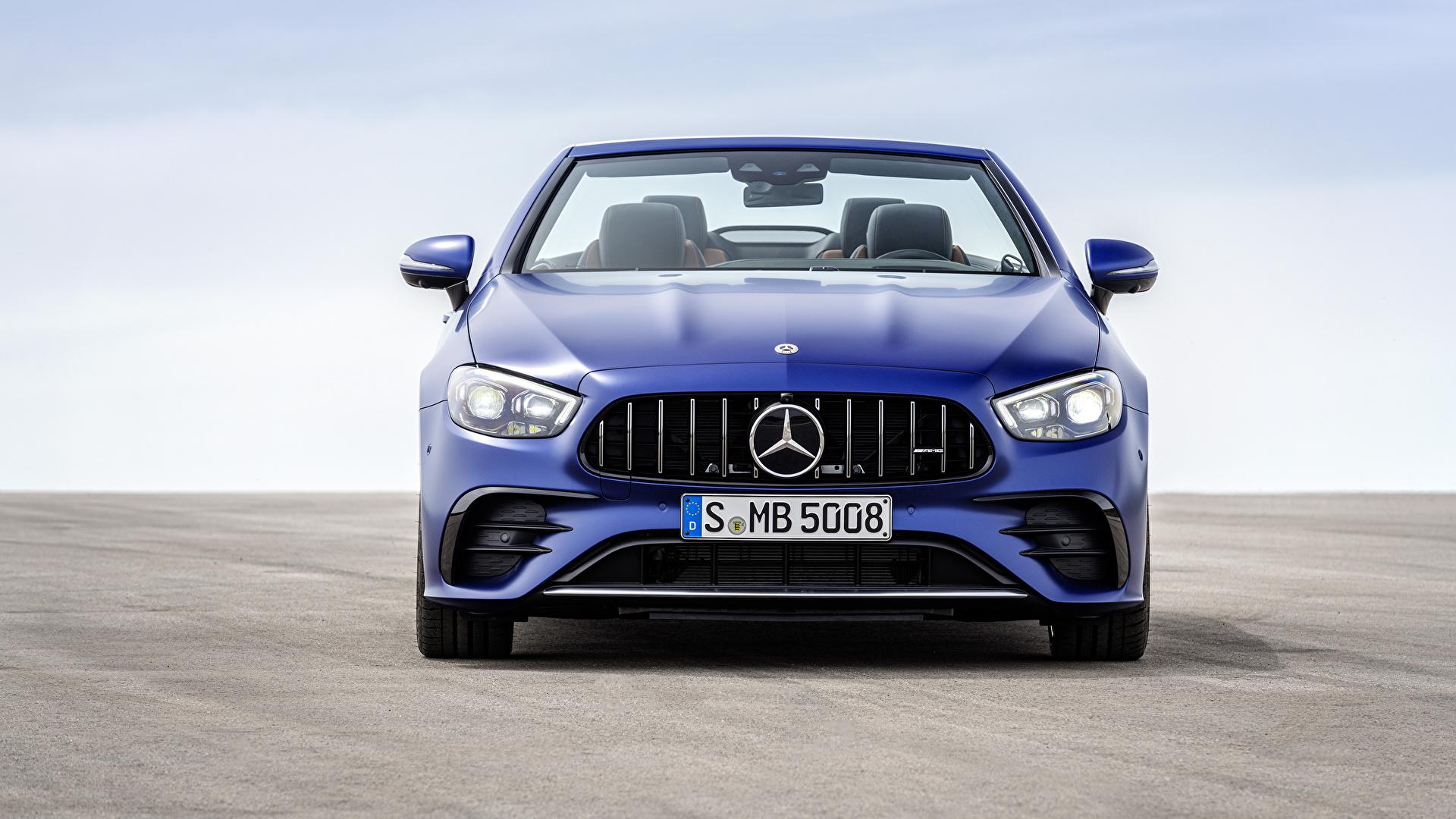 Bilder Mercedes-Benz E 53 4MATIC, Cabrio Worldwide, A238, 2020 Cabriolet Blau auto Vorne Metallisch 1920x1080 Autos automobil