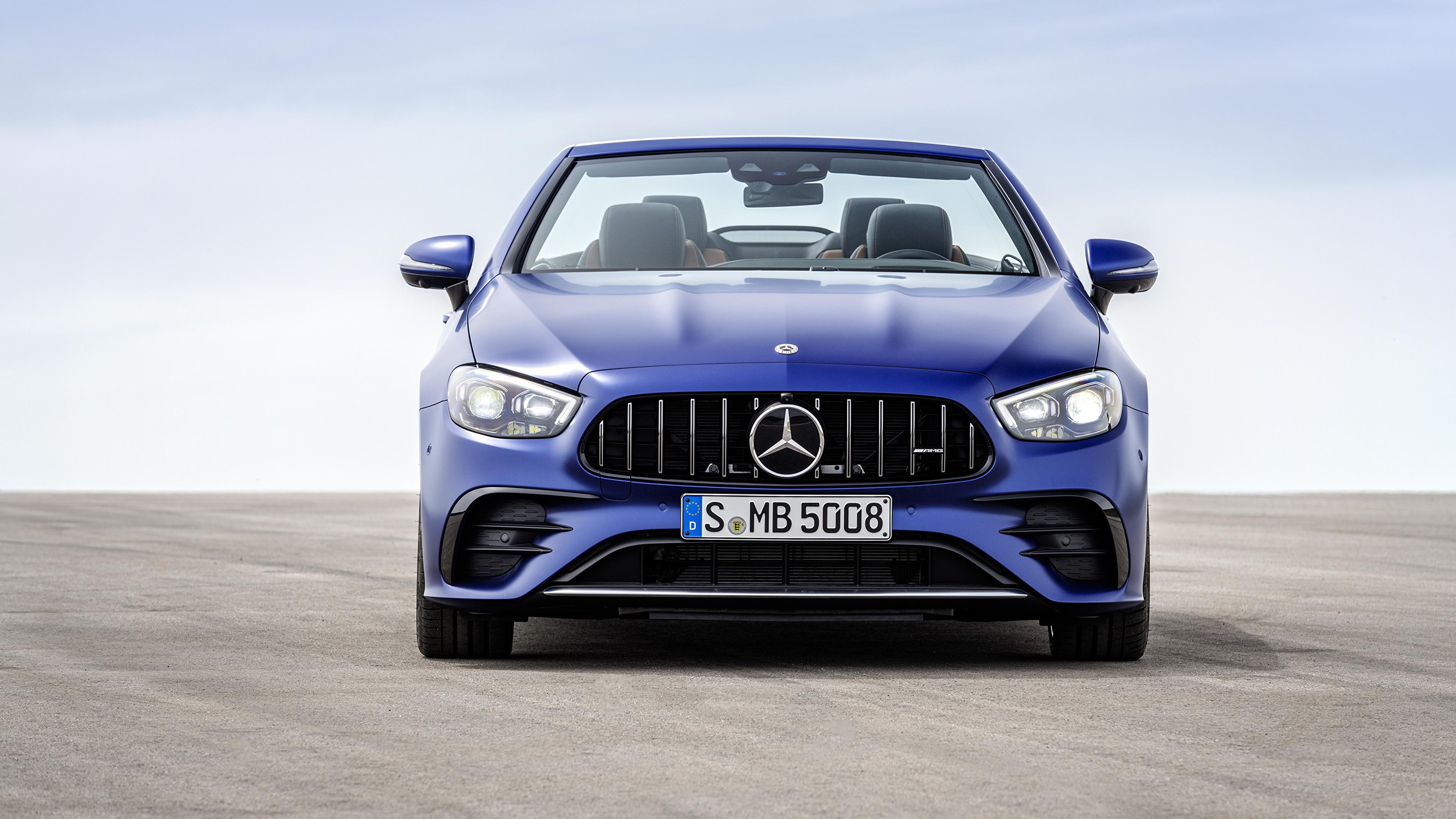 Bilder Mercedes-Benz E 53 4MATIC, Cabrio Worldwide, A238, 2020 Cabriolet Blau auto Vorne Metallisch 3840x2160 Autos automobil