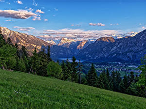 Bilder Österreich Berg Alpen Gras Bäume Riedln Bad Goisern Natur