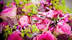 Fotos Blumensträuße Rosen Großansicht Ring Gold Farbe 2 Blumen