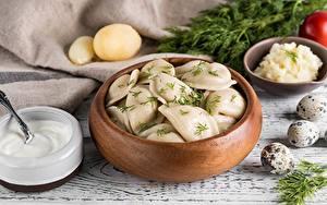 Hintergrundbilder Wareniki Dill Lebensmittel