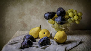 Wallpapers Still-life Grapes Common fig Pears Food