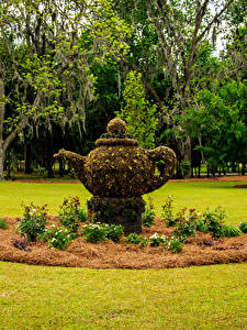 Fotos Vereinigte Staaten Park Skulpturen Flötenkessel Rasen Thomasville Rose Garden Natur