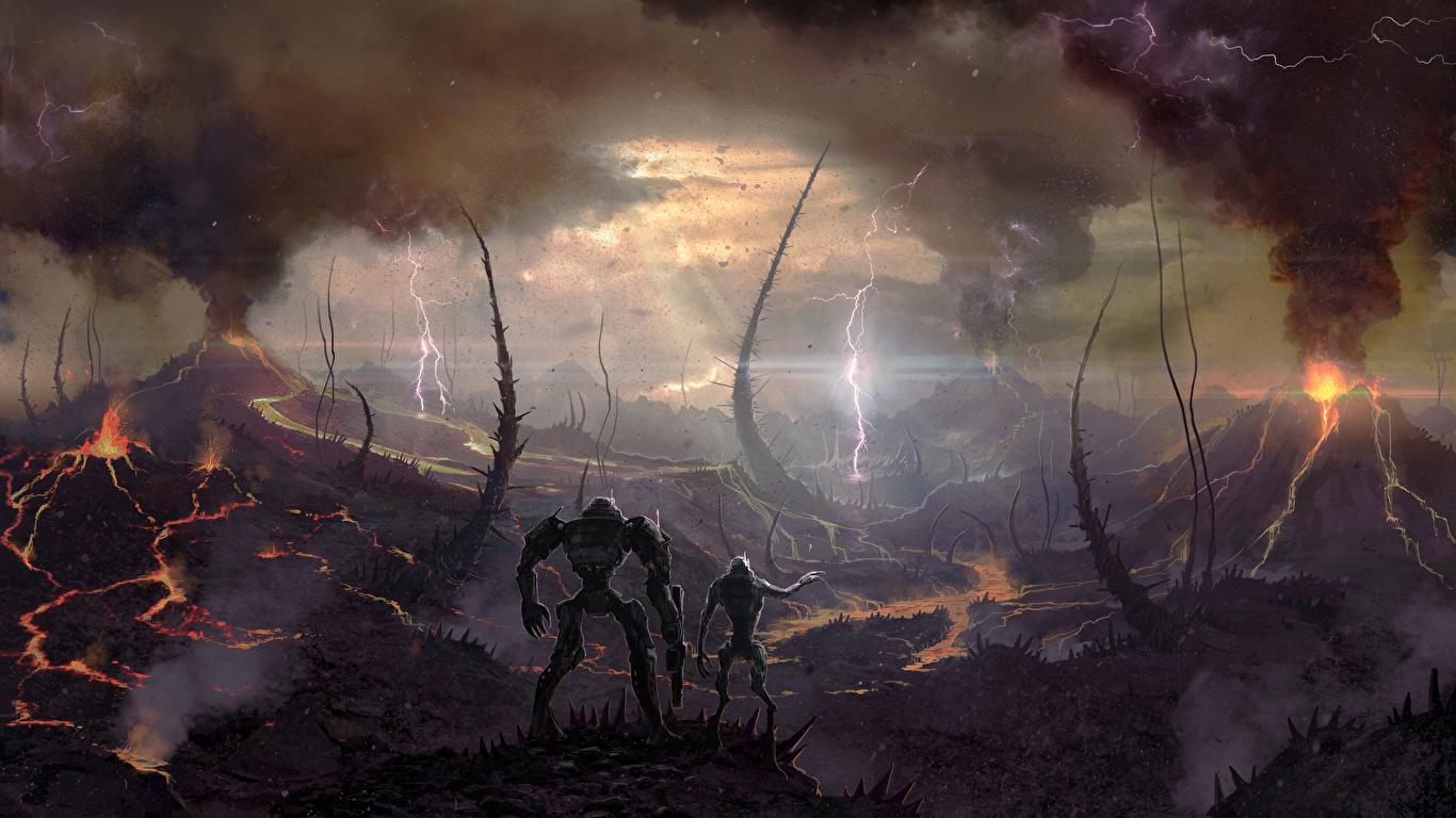 zdjęcia wulkanu Battle for Sularia Piorun gra wideo komputerowa Dym Fantastyczny świat 1366x768 Wulkan wulkany Błyskawice Gry wideo