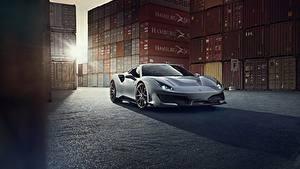 Bilder Ferrari Grau Metallisch Coupe 488 Pista auto